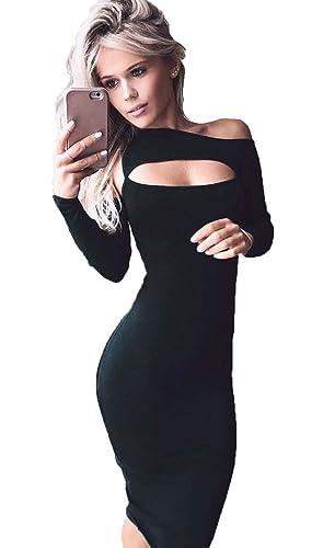 Longwu Bellezza a maniche lunghe Vuoto-fuori del torace cocktail sera sexy Vestito longuette Nero-L