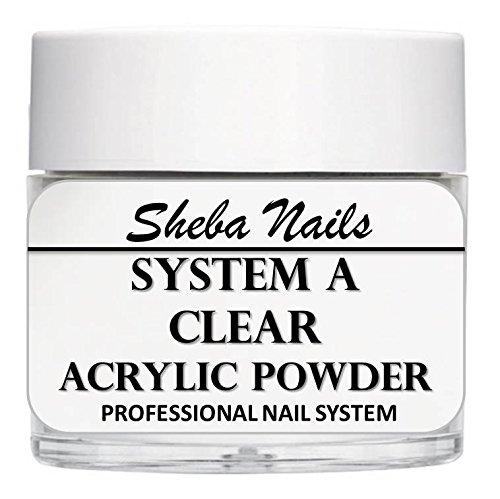 - SHEBA NAILS System A Acrylic Nail Powder CLEAR- 16oz Jar