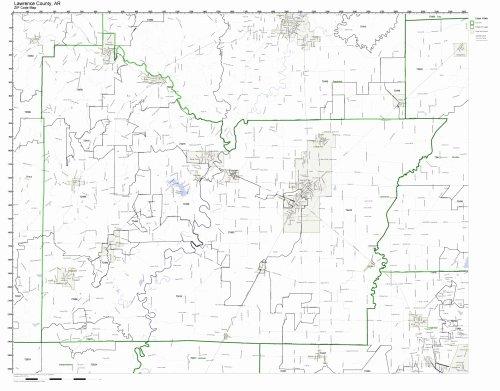 Arkansas County Maps - Lawrence County, Arkansas AR ZIP Code Map Not Laminated