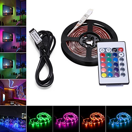AVAWAY RGB LED Light Strip, USB Powered 5V SMD 5050 Flexible Waterproof TV Back light with 24 Keys Remote Control for TV Background Lighting PC Notebook Home Decoration - 39Inches/1M