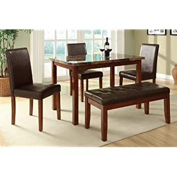 5pc Casual Dining Set With Marble Top In Medium Oak Finish