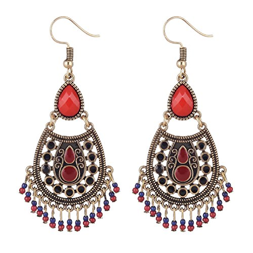 D EXCEED Women's Bohemian Red Dangle Earrings Ethnic Seed Bead Drop Earrings Anti Gold Etched Filigree Dangling - Etched Dangle