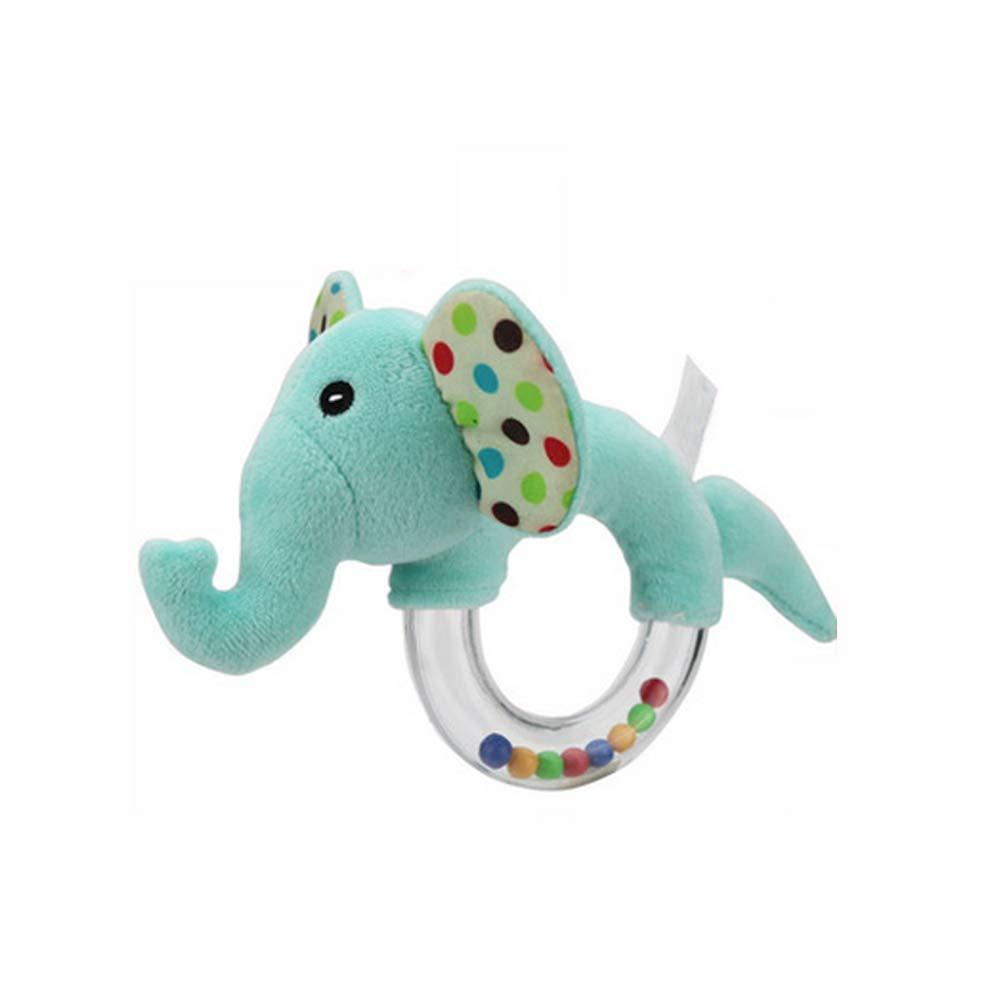 Traqueteo del beb/é de la felpa del animal relleno del juguete de la coctelera elefante anillo sonajero con Clear anillo de juguete educativo del beb/é