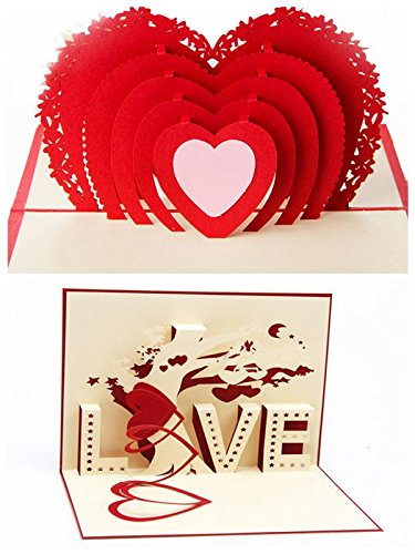 Amazon 2Pcs Handmade 3D Pop Up Rose Flower Love Tree Valentines Card Birthday Cards Creative Greeting Papercraft Office Products