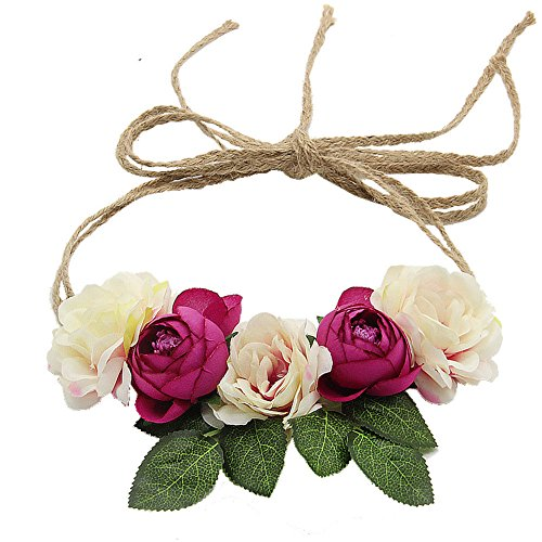 Floral Fall Flowers Maternity Sash Woodland Wedding Crown Halo Romantic Flowers Hair Wreath F-91 (Ivory Fuchsia)