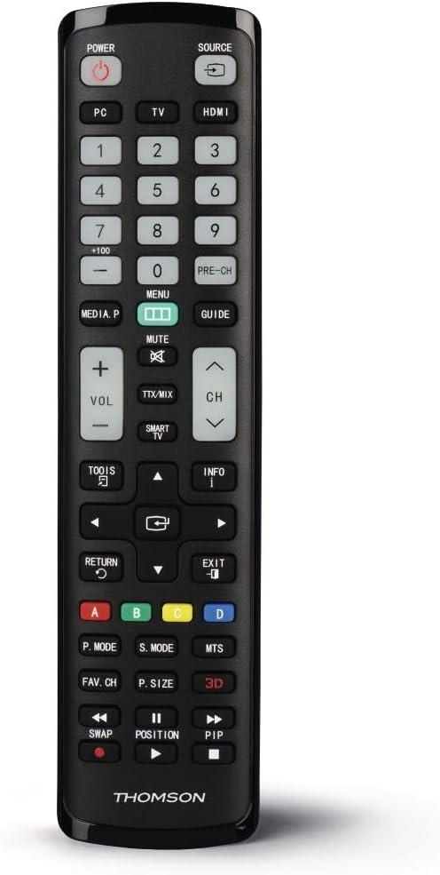 Thomson - Mando a Distancia Universal para televisores Samsung (Mando a Distancia de Repuesto, Listo para Usar, para Samsung TV, Botones Luminosos, Modo Simple para Personas Mayores), Color Negro: Amazon.es: Electrónica