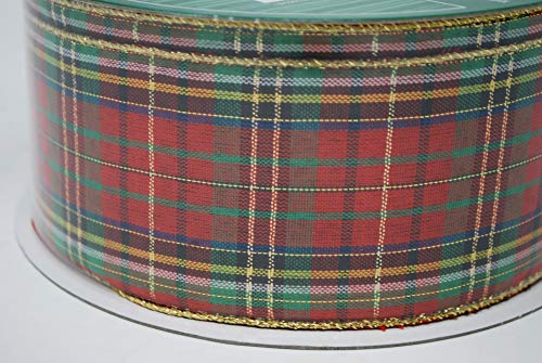 (Kirkland Signature Red Tartan Plaid Christmas Ribbon Metallic Wire Edge 50 Yard Roll 2.5