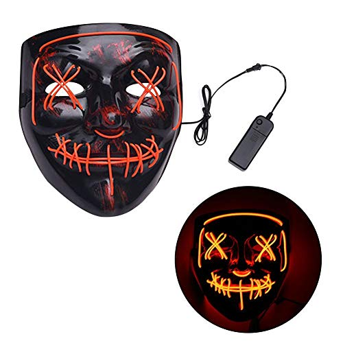 Shantan Halloween Mask LED Light up Mask - Creepy Scary Mask for Festival Party Cosplay Costume Masquerade Mask -