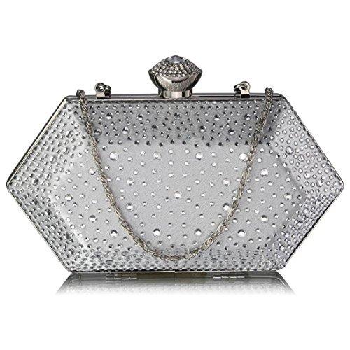 TrendStar - Cartera de mano mujer Blanco - Ivory Hard Box Bridal Clutch Bag