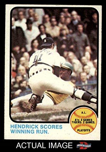 1973 Baseball (1973 Topps # 201 1972 AL Playoffs - Hendrick Scores Winning Run George Hendrick / Bill Freehan Athletics / Tigers (Baseball Card) Dean's Cards 6 - EX/MT Athletics / Tigers)