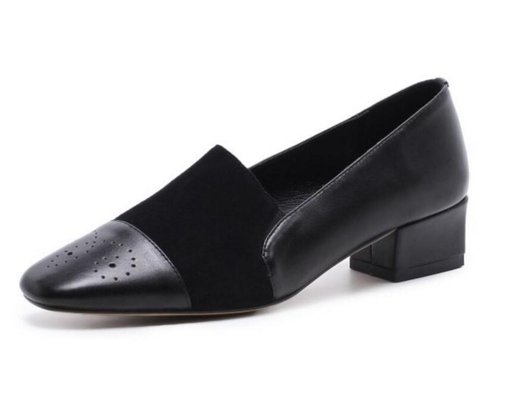 XIE Zapatos de mujer piel genuina Retro Punta cuadrada Oficina mocasines Tamaño 36 a 39, EU38 DARKRED-EU38