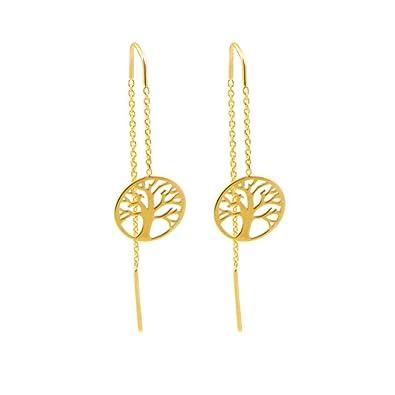 e9248ed9f8ea Par de pendientes en oro amarillo de 18 kts con motivo de árbol de la vida  es tipo ...