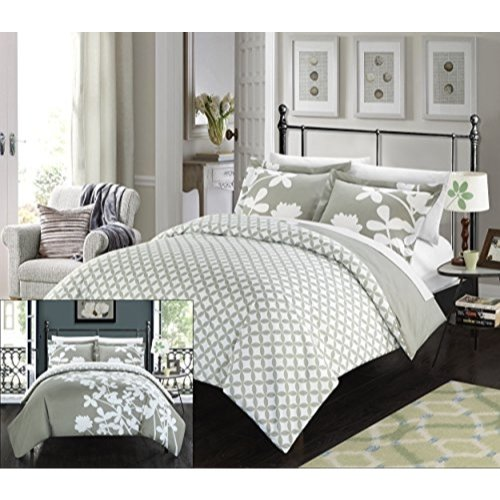 Chic Home 3 Piece Calla Lily Reversible Large Scale Floral Design Printed with Diamond Pattern Reverse Duvet Cover Set, Queen, Grey