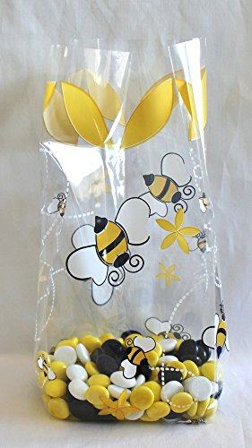 A Little Honey Bee Cellophane Cello Party Favor Treat Bags 5'' x 3'' x 11 1/2'' - Pack of 25 by Magical Times 808