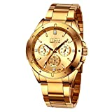 Men's Gold Watches, Luxury Analog Wrist Watch with Golden Plating Stainless Steel Link Bracelet