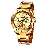 Men's Gold Stainless Steel Fashion Luxury Analog Quartz Wrist Watch