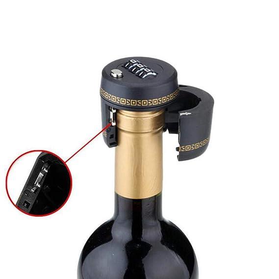 GuGio Bottle Password Code Lock Wine Whiskey Bottle Top Stopper Combination Lock for Wine /& Liquor Bottle Black
