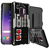 MINITURTLE Case Compatible w/ Samsung Galaxy S9 + w/ Stand & Holster [Galaxy S9 Plus HYBRID CLIP ARMOR Case] Galaxy S9 Plus Shock-Resistant Holster Silicone & Hard Stand Shell Cover – Game Controller
