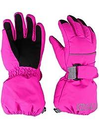 MAGARROW Kids Winter Gloves Waterproof Snow Boys Girls Gloves (Rose Red, XS)