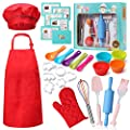 CiaoKids Real Kids Baking Set 35 Pcs includes Kids Apron, Chef Hat, Oven Mitt, Real Baking Tools and Recipes.