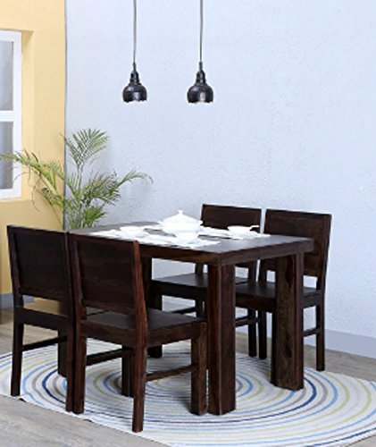Shilpi Handmade Square Shape Four Seater Solid Wood Dining Table Set 4 Chair Set Of Dining Amazon In Home Kitchen