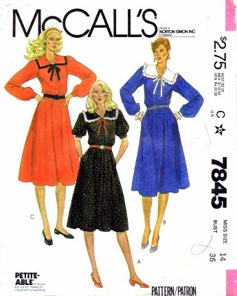 (McCall's 7845 Sewing Pattern Flared Pullover Dress Size 14 - Bust)