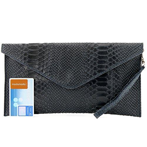 ModaModa de T106S - Bolso (de mano, para mujer, piel italiana lisa) azul oscuro