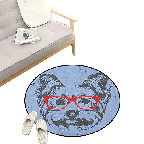 """Yorkie Round Rug ,Yorkshire Terrier Portrait Red Nerd Glasses Tainted Backdrop Animal, Flannel Microfiber Non-Slip Soft Absorbent 23"""" inch Pale Blue Grey Vermilion"""