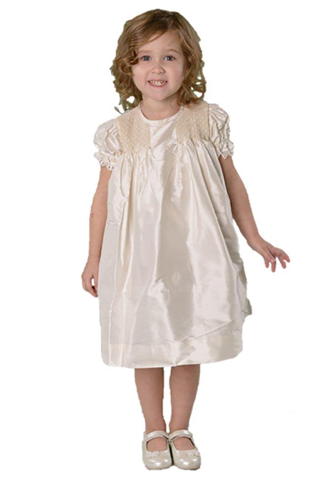 Strasburg Children Toddler Dress Formal Silk Smocked Flower Girl Dress Ivory 2t