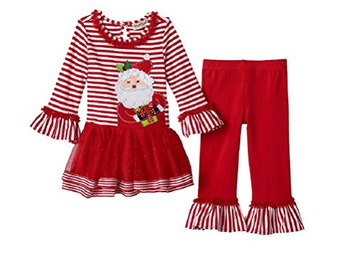 Toddler Little Girls Rare Editions Santa Claus Christmas Outfit-- Tunic & Leggings (5) (Christmas Rare Dress Editions)