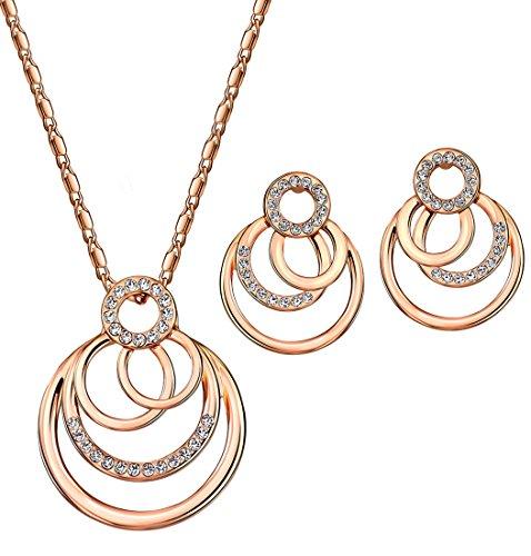 NEOGLORY Conjunto de Joya Collar Pendientes con Cristales SWAROVSKI BLANCO Joya Original Regalo Mujer Chica