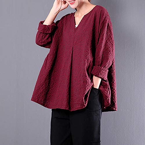 Courtes Red V Femme Col Dcontract Top Solid DAYLIN Chemisier Manches wx0Xz0qZ