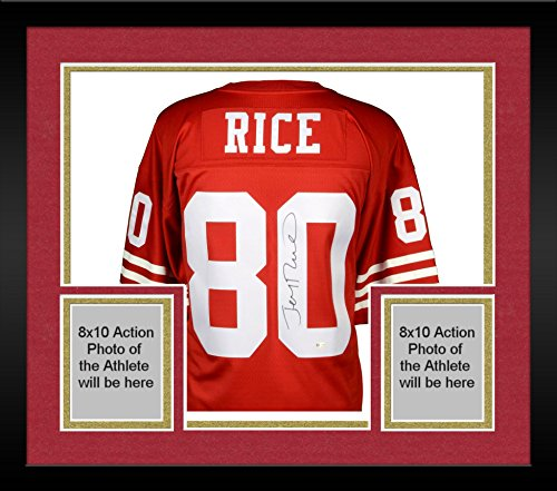 Framed Jerry Rice San Francisco 49ers Autographed Mitchell and Ness Red Replica Jersey - Fanatics Authentic Certified