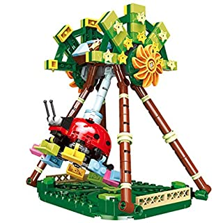 Sams Bestoyz Children Playground Building Bricks, Theme Park Build Sets, Spaceship, Flying Chairs, Ladybug Giant Frisbee, Tour Train, Educational Blocks Toy for Kids Age 6 7 8+ (Giant Frisbee)