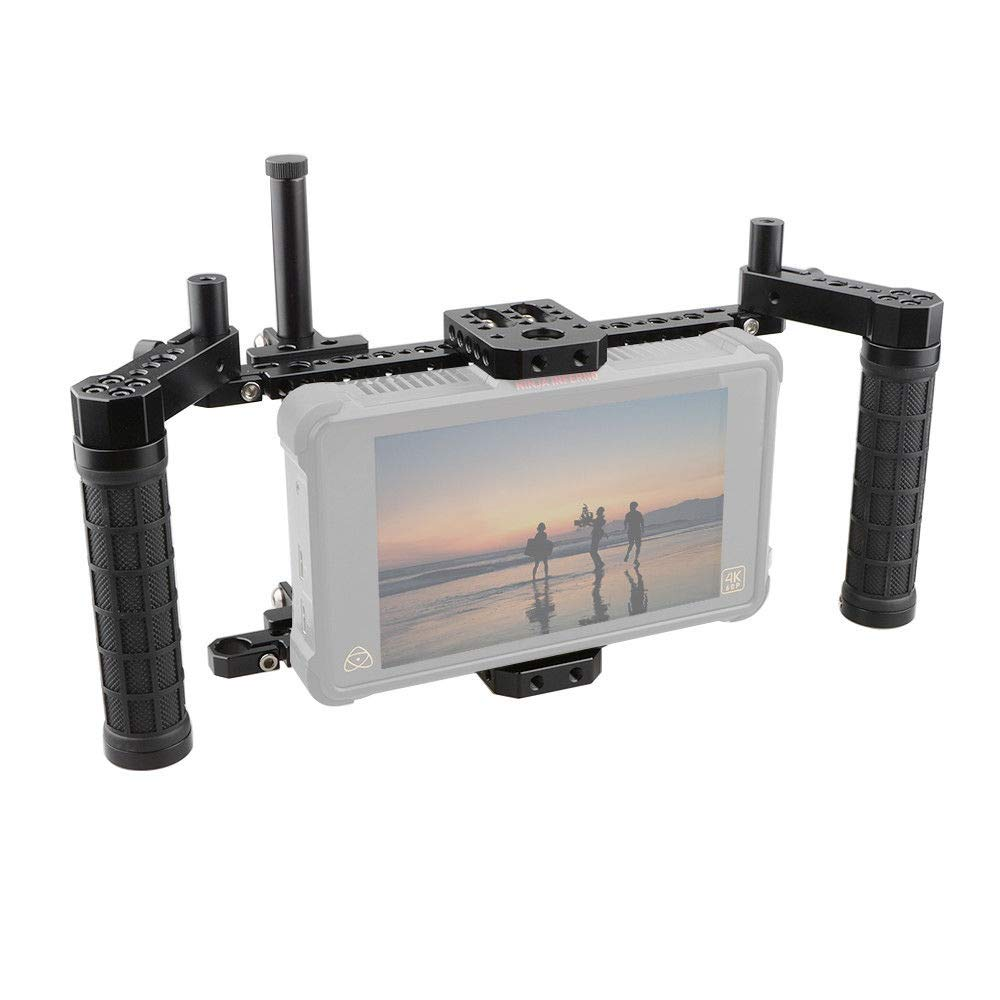 RISHIL WORLD C1854 Adjustable Stabilizer Cage with Dual Handle for 5 Inch 7 Inch Camera Monitor