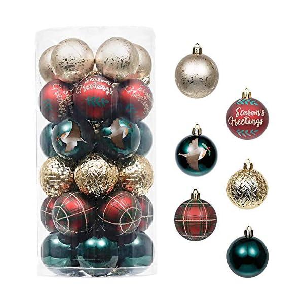 Valery Madelyn Palle di Natale 30 Pezzi 6cm Palline di Natale, Strada di Campagna Rosso Verde e Oro Infrangibile Ornamenti Palla di Natale Decorazione per la Decorazione Dell'Albero di Natale 1 spesavip