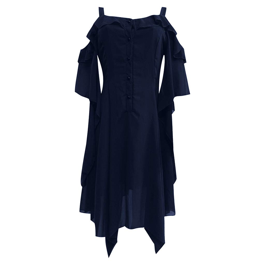 Nmch Gothic Plus Size Dresses for Women Special Occasion Dark in Love Ruffle Sleeves Cold Shoulder Midi Dress(Navy,XXL)