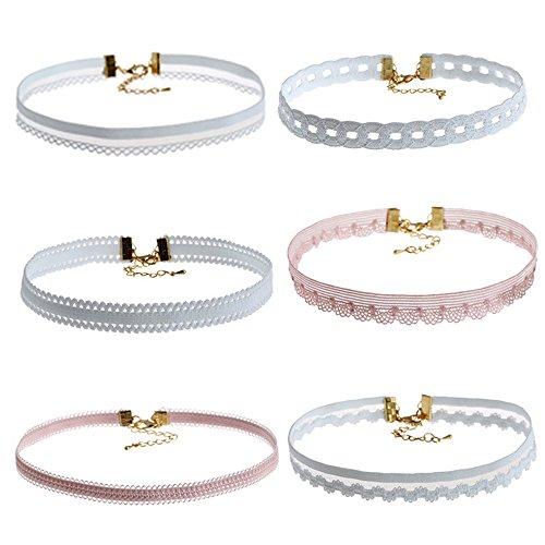 YINLI 6 Pack/Set Choker Necklace Velvet Ribbon Collar Set Ribbon Adjustable Necklaces (Pack 1)