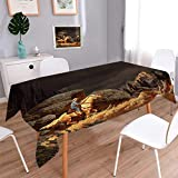 Anmaseven Western Rectangle Dinner Picnic Table Cloth A Rock Mountain Landscape with a Cowboy Riding Horse North America Style Waterproof Table Cover for Kitchen Earth Yellow Grey Size: W54 x L90