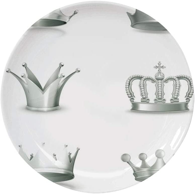 "Ylljy00 Silver 6"" Dinner Plate,Different Kinds of Antique Crowns Queen King Imperial Theme Vintage Symbol Decorative Ceramic Decorative Plates,Dining Table Tabletop Home Decor,Pale Green White"