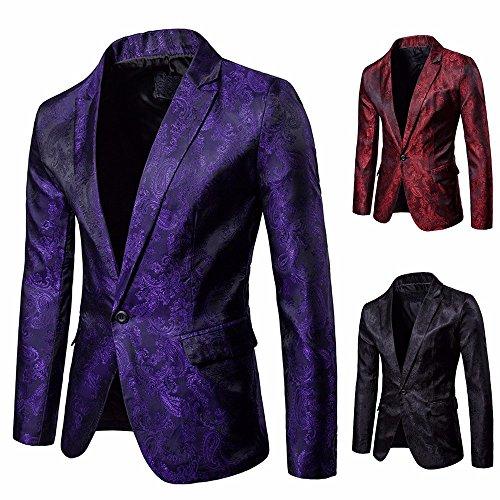 Winsummer Mens Floral Blazer Jacket Casual Business Long ...