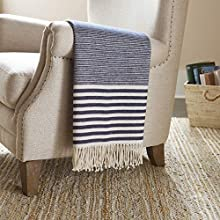 Stone & Beam Contemporary Stripe Throw Blanket - 60 x 50 Inch, Navy