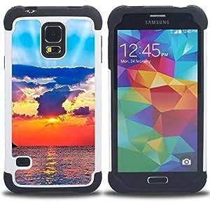 - sun ray sea clouds god spiritual/ H??brido 3in1 Deluxe Impreso duro Soft Alto Impacto caja de la armadura Defender - SHIMIN CAO - For Samsung Galaxy S5 I9600 G9009 G9008V