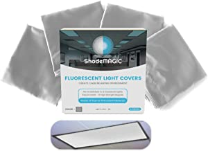 ShadeMAGIC Fluorescent Light Covers for Classroom or Office - Light Filter Pack of (4); Eliminate Harsh Glare That Causing Eyestrain and Head Strain. Office Classroom Decorations Light Diffusers Gray