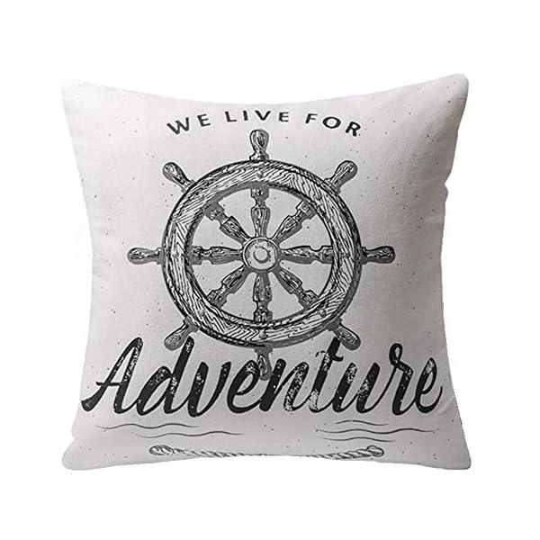 Gspirit 4 Stück Kissenbezug Schwarz und weiß Segeln Navigation Kompass Dekorative Kissenhülle Baumwolle Leinen Werfen…