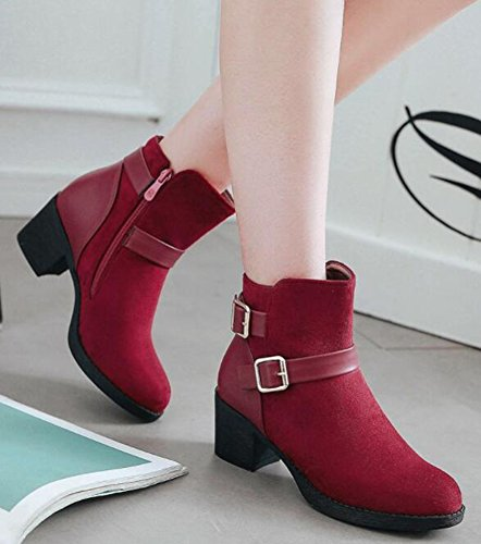 Red Chunky Ankle Aisun Heels Buckle Up Mid Side Women's Boots Zip Trendy xFqa6