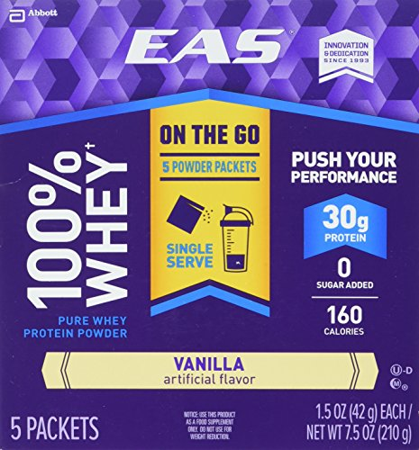 EAS 100% Whey On-the-Go Protein Powder Packets, Vanilla, 1.5 Ounce, 5 Count