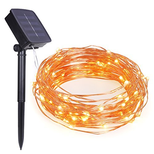 GARMAR Solar String Lights, 33ft 100 LED Copper Wire Twinkle lights for Indoor Outdoor, Christmas Decorative Lights for Seasonal Holiday( Warm White )