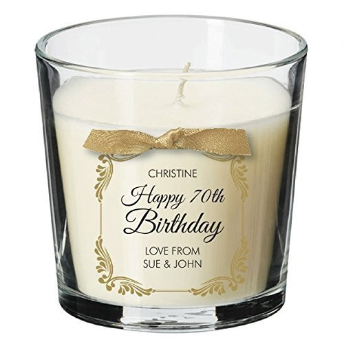 70th Birthday Present Personalised Gift Candle Gifts For Women Her Men Decorations Party All Ages