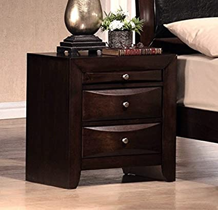 Amazon.com: Emily Dark Cherry Wood Nightstand by Crown Mark ...